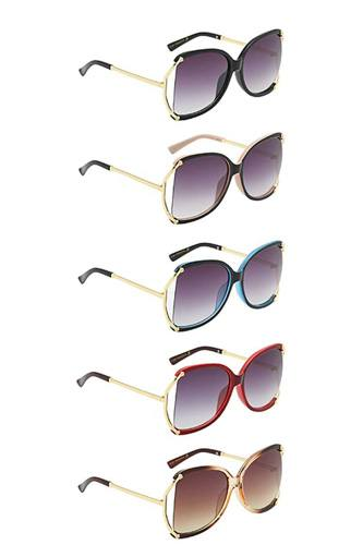 Stylish polymer c frame metallic temple womens sunglasses-id.cc52600