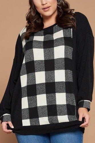 Plus size buffalo plaid check contrast pullover tunic top-id.cc52602