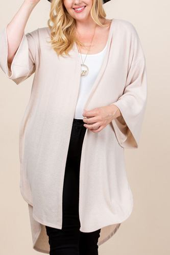Plus size solid hacci brush open front long cardigan with bell sleeves-id.cc52603