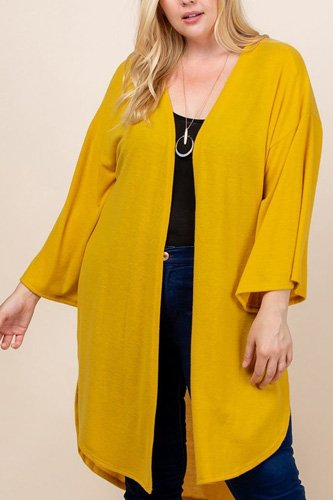Plus size solid hacci brush open front long cardigan with bell sleeves-id.cc52603c