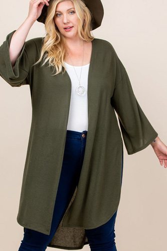 Plus size solid hacci brush open front long cardigan with bell sleeves-id.cc52603d