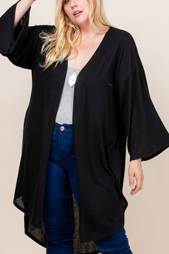 Plus size solid hacci brush open front long cardigan with bell sleeves-id.cc52603e