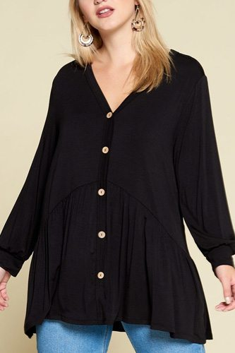Plus size solid heavy rayon modal jersey faux button up-id.cc52604b
