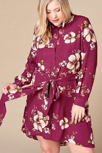 Floral woven button-down collared shirt dress-id.cc52609