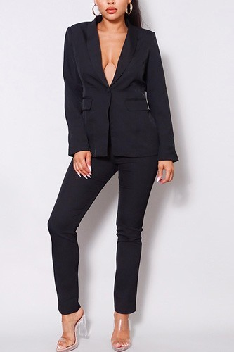 One button blazer jacket & tapered trouser set-id.cc52615