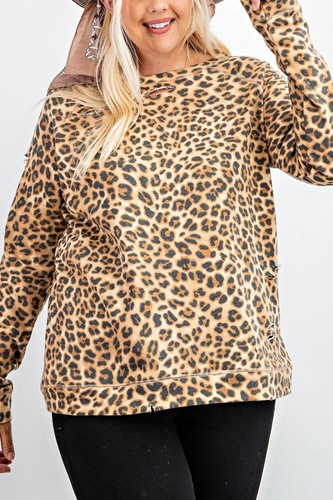 Long sleeve leopard printed terry knit pullover-id.cc52625