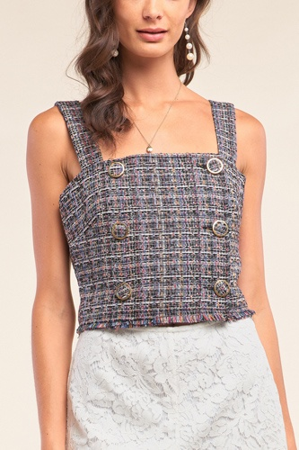 Multicolor sleeveless plaid square neck buttoned trim cropped top-id.cc52631