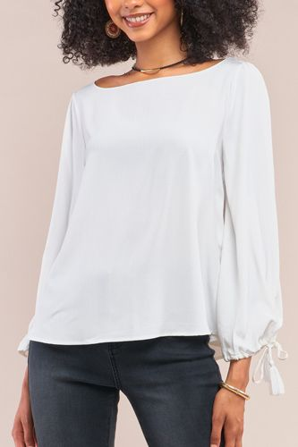 White bateau neck relaxed fit tassel tie detail long sleeve blouse-id.cc52632