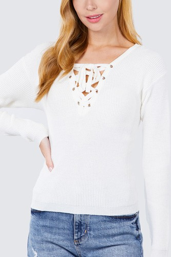 V-neck eyelet strap back sweater-id.cc52638b