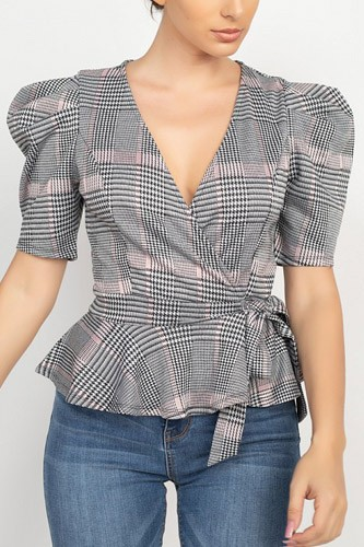 Plaid front wrap puff sleeve top-id.cc52644