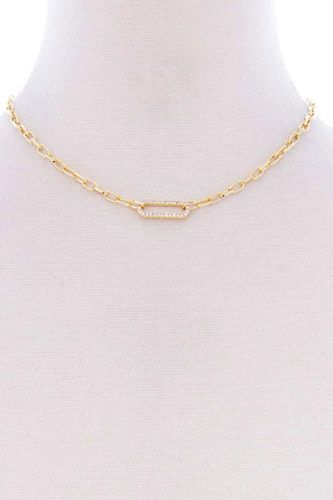 Stone oval point metal chain necklace-id.cc52646