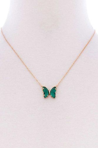 Butterfly color stone pendant dainty necklace-id.cc52648