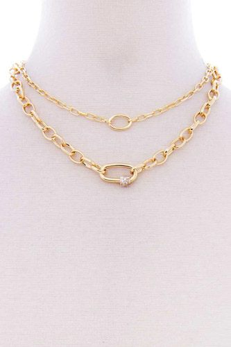 2 layered metal oval stone point chain necklace-id.cc52653