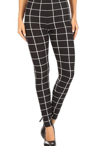 Plaid high waisted leggings with elastic waist and skinny fit-id.cc52666