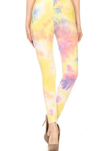Tie dye printed, full length, high waisted leggings in a fitted style with an elastic waistband-id.cc52669