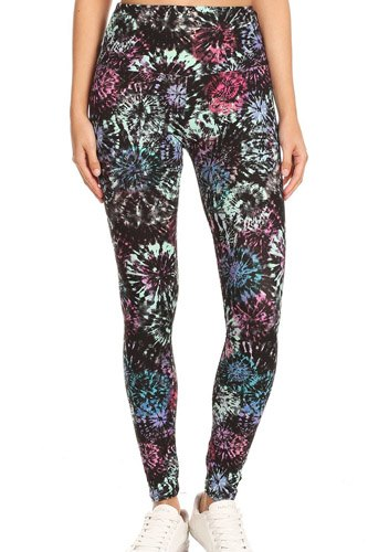5-inch long yoga style banded lined tie dye printed knit legging with high waist-id.cc52670