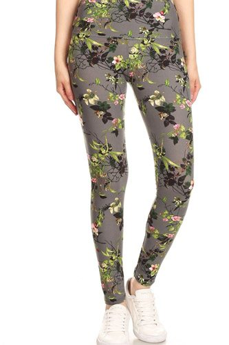 5-inch long yoga style banded lined floral printed knit legging with high waist-id.cc52671