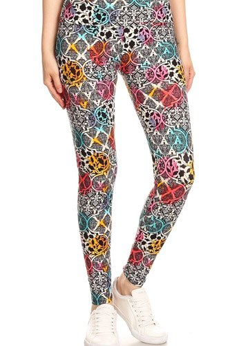 5-inch long yoga style banded lined damask pattern printed knit legging with high waist-id.cc52672
