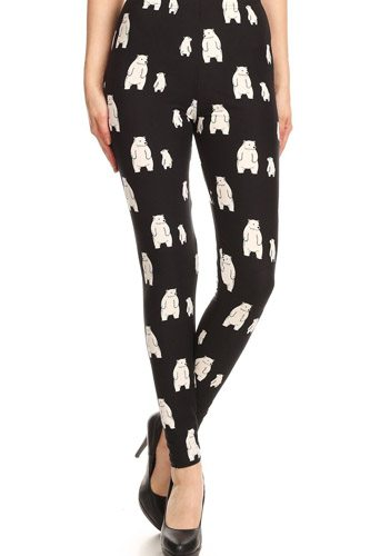 Polar bear print, high waisted full length leggings with an elastic band-id.cc52673