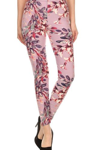 Floral printed high waisted knit leggings in skinny fit with elastic waistband-id.cc52674