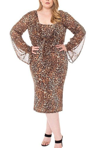 Leopard print cardigan & dress plus size set-id.cc52676