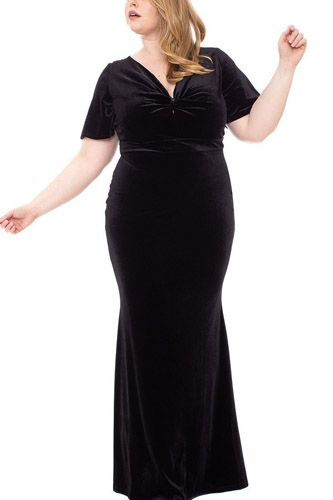 Stretch velvet bow front deep v-neck dress-id.cc52677b
