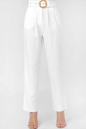 A solid pant featuring paperbag waist with rattan buckle belt-id.cc52700