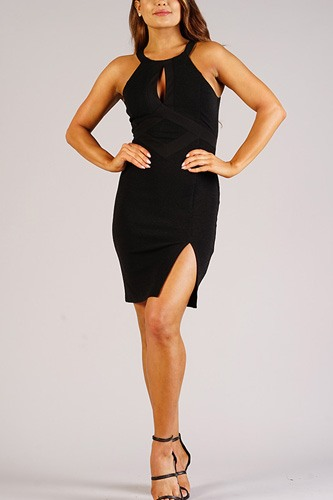 Sexy holiday halter dress with keyhole detail-id.cc52703