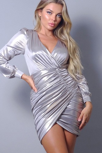 Metallic long sleeve v neck wrapped asymmetric hem mini dress-id.cc52704