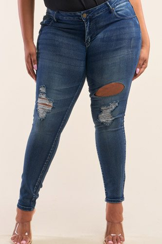 Plus size dark blue low-rise ripped denim pants-id.cc52717