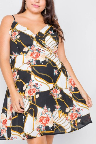 Plus size black floral belt & chain printed mini dress-id.cc52724