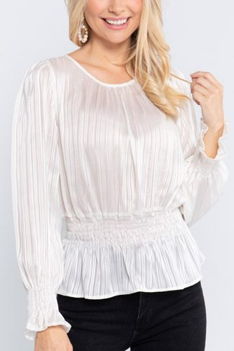 Smocked ruffle sleeve lurex blouse-id.cc52729