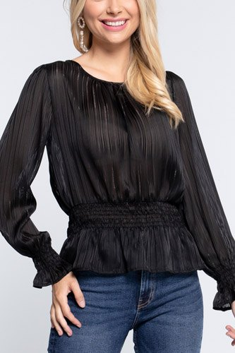 Smocked ruffle sleeve lurex blouse-id.cc52729a