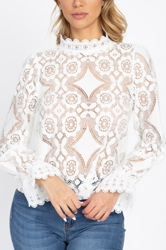 Sheer floral & geo crochet lace top-id.cc52732a