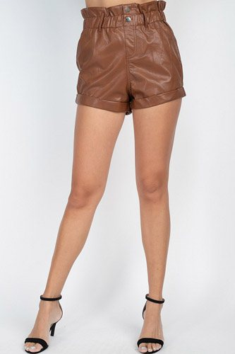 Paper bag pu button shorts pants-id.cc52734a
