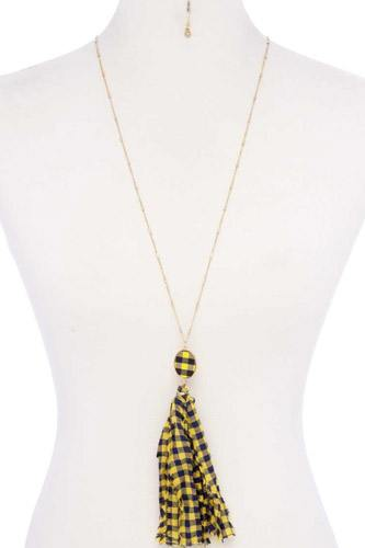 Checkered pattern fabric tassel necklace-id.cc52745