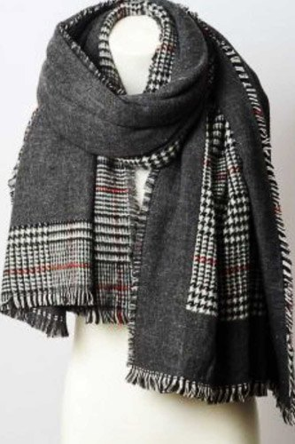 Reversible tartan plaid oversized blanket scarf-id.cc52757