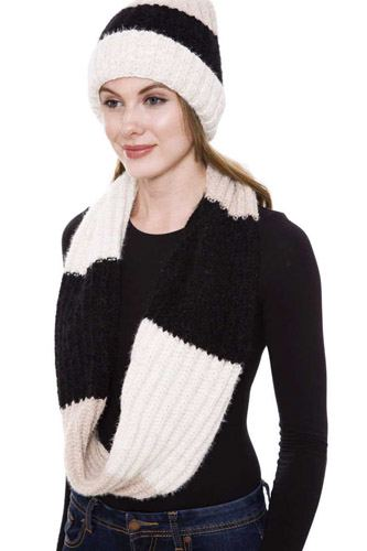Stripe pattern infinity scarf and knit hat set-id.cc52760