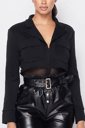 Deep-v cropped power shoulder blazer bodysuit-id.cc52766