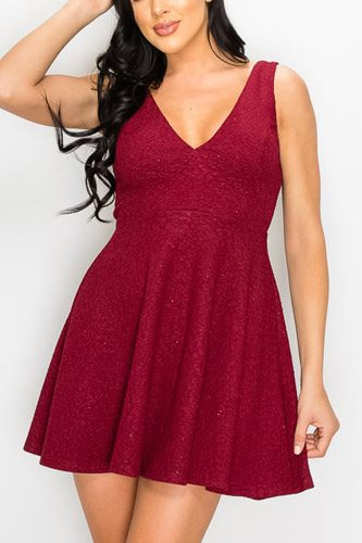 V-neck back cutout skater dress-id.cc52768