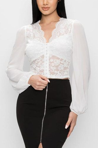 Bell sleeve lace back crop top-id.cc52769