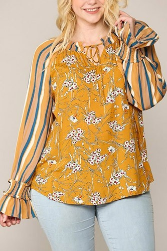 Print mixed peasant smocked top-id.cc52771a
