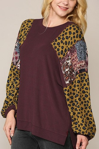 Animal and paisley print mixed tunic top with side slit-id.cc52772b