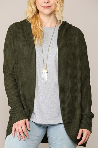 Solid waffled hoodie cardigan with lapel collar-id.cc52774