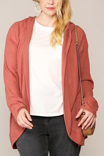 Solid waffled hoodie cardigan with lapel collar-id.cc52774b