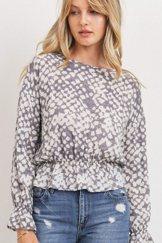 Ruffled waist drop shoulder long sleeve top-id.cc52777
