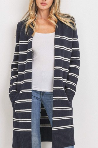 Striped print open front cardigan-id.cc52779