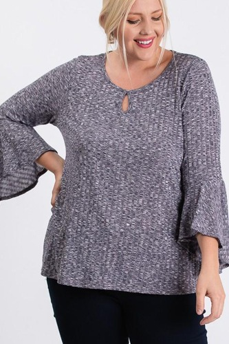 Front keyhole 2tone rib fabric 3/4 bell sleeve top-id.cc52790