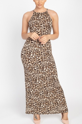 Round neck animal print maxi dress-id.cc52807