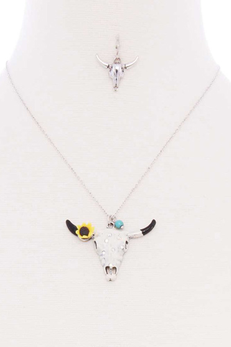 Cattle skull sunflower pendant necklace-id.cc52823